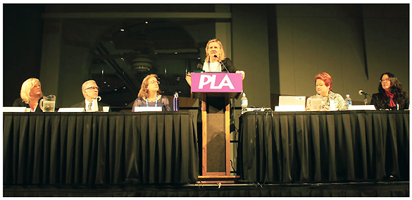 "Aspen Institute Dialogue on Public Libraries director Amy Garmer speaks at the ""Rising to the Challenge"" panel at the PLA 2016 Conference. (l-r: Dawn LaValle, Director of the CT Division of Library Development; Kendall Wiggin, CT State Librarian and President, Chief Officers of State Library Agencies (COSLA); Cindy Fesemyer, Director of the Columbus Public Library, WI; Garmer; Gina Millsap, CEO of the Topeka Shawnee County Public Library, KS; Maria Carpenter, Director of Library Services, Santa Monica, CA."
