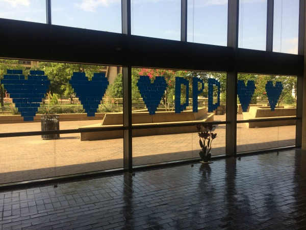 Post-it Mosaic in honor of Dallas Police Department at Dallas Public Library