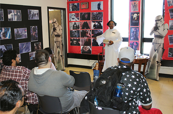 The Star Wars Nook at East Orange PL's ToshoCon 2016 (above), the brainchild of cosplayed reference librarian  Nancy Tinney. Photo by Kevin Henegan