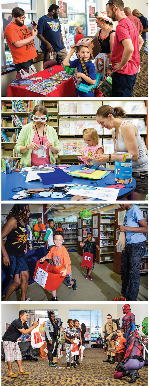 """Baltimore's Enoch Pratt Free Library (EPFL) hosted PrattCon 2016, a pop culture extravaganza with vendors and attendees exchanging game theories (top); children's librarian Carrie Harnick (l.) unmasked young patrons' creative sides at the """"create your very own superhero mask"""" workshop (2nd row); and with the assistance of children's librarian Kelly Burden (l.), kids gobbled up a life-size Pac-Man game at EFPL's Southeast Anchor Branch (3rd row). Fans perused the vendors space and had photos taken with costumed superheroes (bottom). Photos by Matt Roth"""