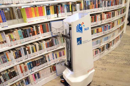 Singapore library robot checks shelves for misfiled books
