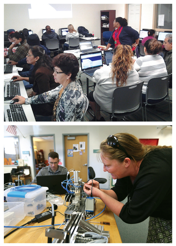 "O-GETTERS (Top): Go where they are—learning ""on the road"" in the Houston PL Mobile Express. (Inset): Hands-on learning for MT1 certification at the Carson City Library, NV. Top photo courtesy of Houston Public Library; bottom Photo by Cathleen Allison, Nevada Photo Source–C/O Carson City Library"