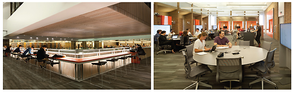 "(l.-r.): Lighting enhances multilevel study areas;  and active learning classrooms feature  circular learning ""pods"" and group-ready booths. Photos By Lara Swimmer"