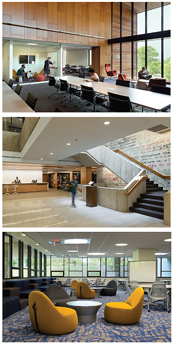 HISTORY REBORN A Brutalist icon (above) gets lightened up but stays in touch with its roots. (Top-bottom) The Shain reading room, renovated staircase, and tech commons. Photos ©Paul Burk Photography
