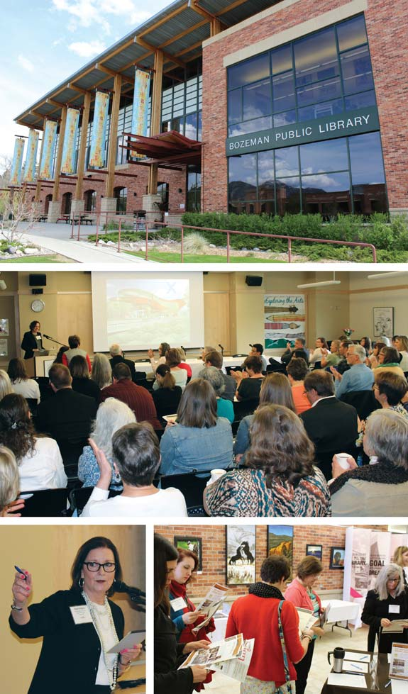 TREASURED WISDOM The Design Institute's (DI) Treasure State debut gathered attendees from around the country—and even outside it. Montana's Bozeman Public Library (top) hosted the day's events, while its mutipurpose room (middle) served as DI central for panels and more. Bozeman PL director Susan Gregory (bottom l.) welcomed the crowd as attendees signed up for the challenges (bottom r.). Photos by Kevin Henegan