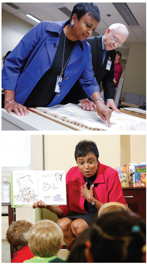 HANDS-ON LEADERSHIP (top): Hayden and Geography and Map Division chief Ralph Ehrenberg peruse the Sanborn Fire Insurance map collections, set to be digitized; (bottom): the new Librarian reads to children from Brent Elementary School in LC's Young Readers Center in the historic Jefferson Building. Photos by Shawn Miller