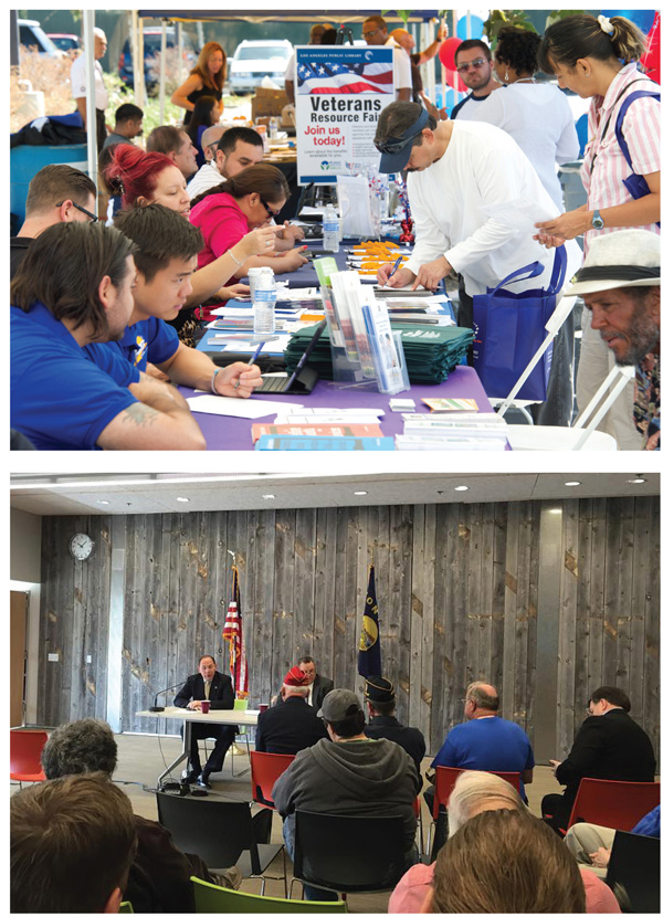 EVENTFUL On-site or off, events are a cornerstone of services to vets (l.–r.): the Veterans Resource Fair  sponsored by LAPL; Sen. Jon Tester speaking at a veterans' meeting at the Billings PL, MT.  Top photo courtesy of LAPL; bottom photo by Erica Zutz