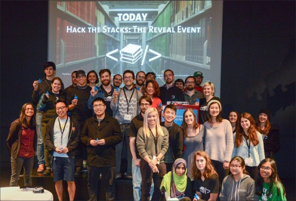 """""""Hack the Stacks"""" award recipients at a public reveal event on November 20, 2016  (©AMNH/R. Mickens)"""