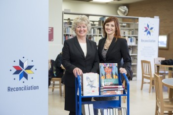 SPL director and CEO Carol Cooley and SPL board chair Candice Grant in the Reconciliation Reading area Photo credit: David Stobbe / stobbephoto.ca