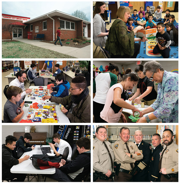 "COMMUNITY CHANGE-MAKER (Top row, l.-r.): FCLC shares space with TheBANK; Collinsville manager Kyla Waltermire (l.) and FCLC manager Katie Heaton lead a bilingual story time in a bilingual kindergarten class at Kreitner Elementary School in Collinsville.  (Middle row, l.-r.): the monthly ""Pokémon & Magic the Gathering"" at FCLC draws a crowd, led by former staffer Leonardo Chavez (top l.); librarian Phyllis Beare (r.) encourages young patrons to have ""Fun with Phyllis.""  (Bottom row, l.-r.):FCLC's Teen Initiative offers students a place to study and access social media; police officers and fire department personnel, supporters of the Fairmont City Library Center-- police officer Scott Penny, Jr. (left), police chief Scott Penny, Sr., fire chief Robert Allen, Roger Juenger of the fire department and police officer Noe Marquez. Scott Penny, Jr., is also a member of the Mississippi Valley Public Library District board of trustees. All photos ©2017 Sid Hastings"
