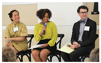 """""""Making Room for Public Life"""" panelists (l-r): Shin-pei Tsay, executive director of the Gehl Institute; Jamie Gauthier, executive director of Philadelphia's Fairmount Park Conservancy; and Matt A.V. Chaban, policy director of the Center for an Urban Future"""