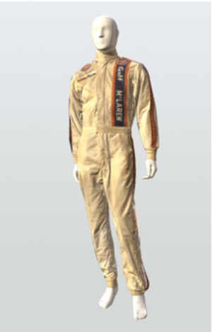 Vintage racing suit from Indianapolis 500 driver Peter Revson.